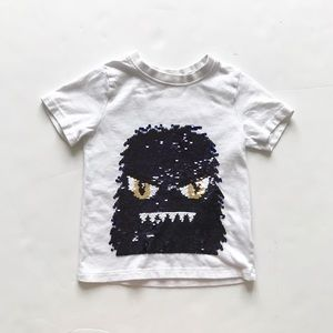 H&M White monster face flip sequins tee GUC  3-4Y